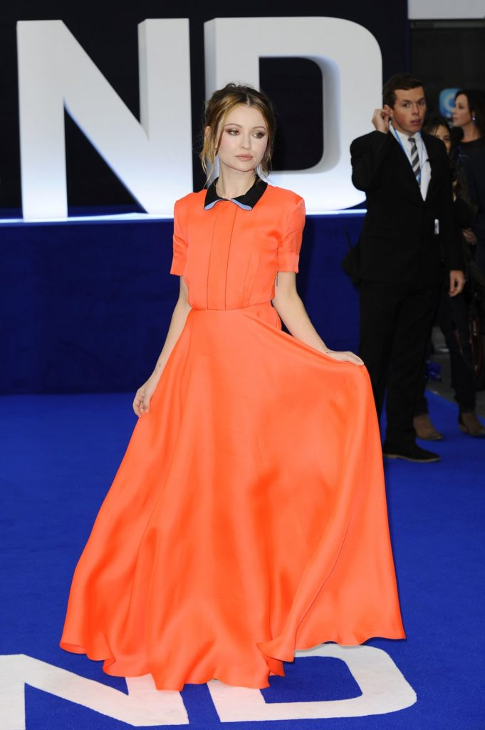 Emily Browning In Orange Dress Photos