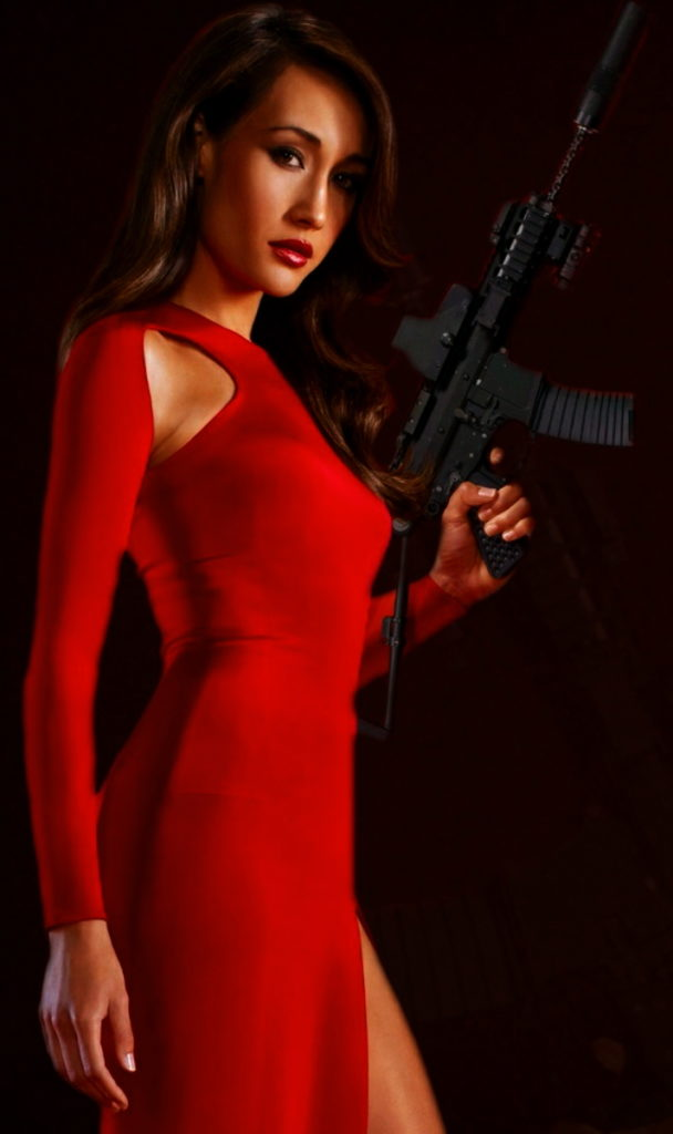 Maggie Q In Red Gown Images